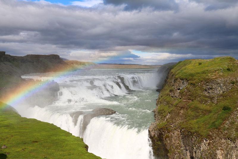 De Gullfoss een van de  IJsland bezienswaardigheden
